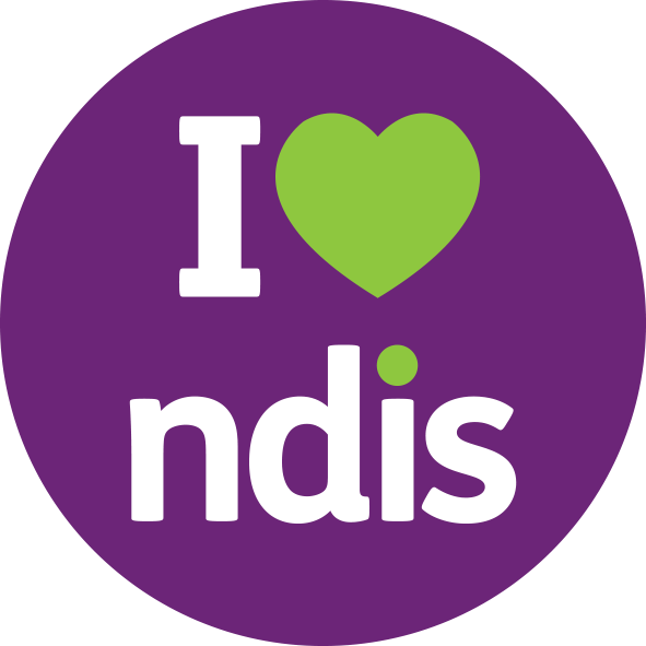"""I heart NDIS"" purple logo with green heart symbol"